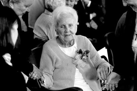 Alma Driscoll was celebrated on her 100th birthday with a party that brought many former students to her school.