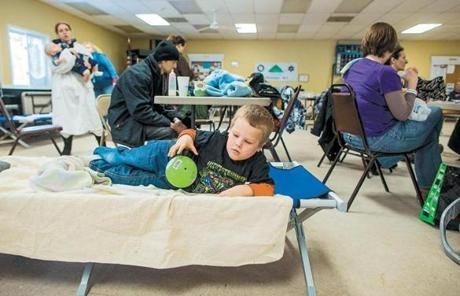 Zachary Lavalley, 4, relaxed at the Salisbury senior center, where many sought refuge.