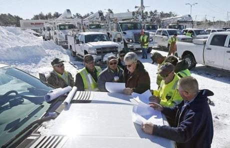 National Grid employees met with utility workers from South Carolina for a planning session in Hanover Sunday morning.