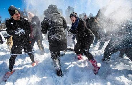 About 50 people participated in a planned snowball fight in Boston Common Sunday afternoon.