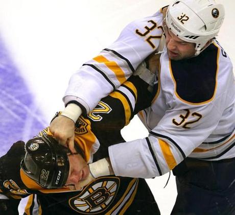 Shawn Thornton got his bell rung in his last fight, a slugfest with Buffalo Sabres heavyweight John Scott.