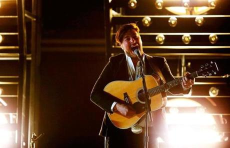 Mumford and Sons, multiple Grammy nominees, were introduced by Johnny Depp.