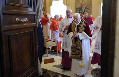 Pope Benedict XVI left after attending a meeting of Vatican cardinals where he announced his resignation.