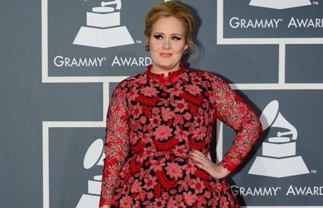 Adele managed to leave her comfort zone of retro-inspired little black dresses.
