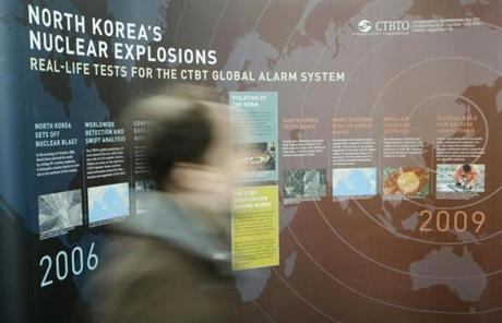 A Comprehensive Nuclear-Test-Ban Treaty Organization (CTBTO) poster details previous North Korea nuclear tests.