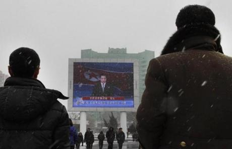 A North Korean state television broadcaster announced  the nuclear test on a large television screen in Pyongyang.
