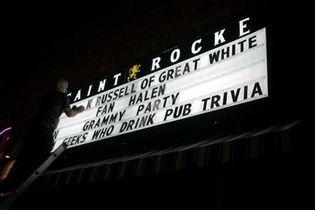 The letters on a sign outside Saint Rocke in Hermosa, Calif., were removed as Jack Russell nears the end of his set at the club on Feb. 7, 2013.