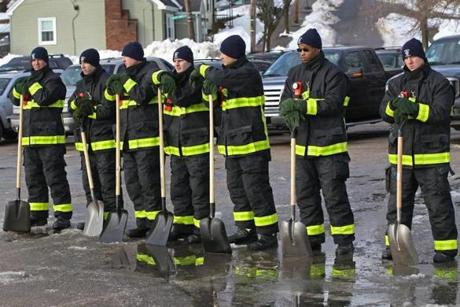 BOSTON MA. 02/12/13: Boston Fire Dept. recruits shoveled out hydrants. They fanned throughout the city to do the work. Starting point was Florian Hall. ( David L Ryan/Globe Staff Photo ) SECTION: METRO TOPIC 13hydrants(1)