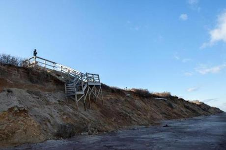 A broken staircase at Nauset Light Beach in Eastham, MA. The recent storm destroyed stair cases at numerous beaches and cut away at many of the Cape Cod National Seashore's dunes and bluffs. 2/12/13 Julia Cumes