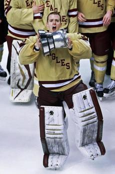 Goalie Parker Milner was one of the BC players who went undefeated in Beanpot play during his career.