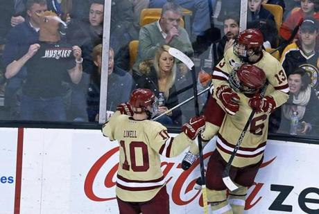 Johnny Gaudreau (13) scored two goals for BC, which scored four goals in the second period.