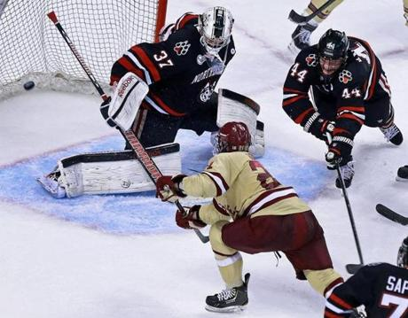 BC's Steven Whitney slipped this goal past Rawlings  with just .4 seconds left in the second period.