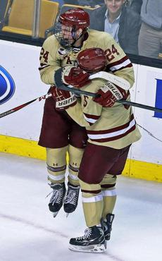 Bill Arnold (24) celebrated after scoring BC's first goal.