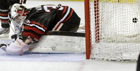 But Northeastern goalie Chris Rawlings dropped to the ice after allowing Gaudreau's goal.