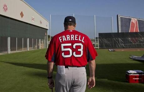 Farrell was overseeing his first workout as Red Sox manager on Tuesday.