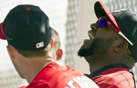 David Ortiz, who arrived in camp Tuesday, laughed while chatting with teammates.