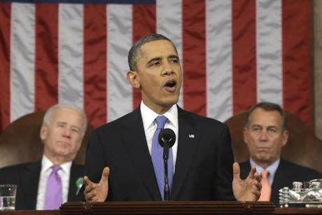 President  Obama delivered his State of the Union address at the US Capitol.
