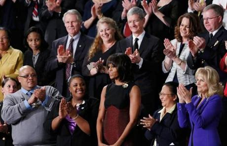 Michelle Obama was recognized before the speech.