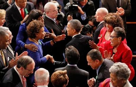 Obama greeted members of Congress on his arrival.