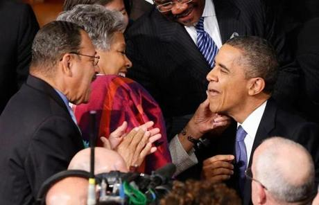Obama had lipstick wiped from his face before the speech.