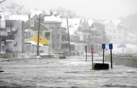 Flood water on Winthrop Shore Drive after the weekend blizzard.