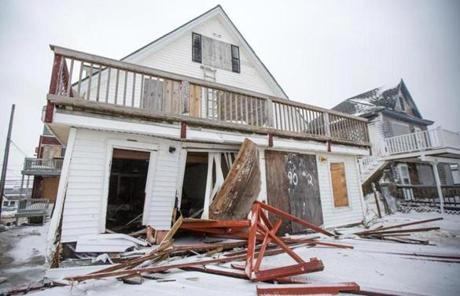 A home on North End Boulevard in Salisbury was damaged.