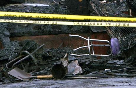 A bar chair and other debris sat among the ruins. The fire was the deadliest nightclub fire in US history since 1977.