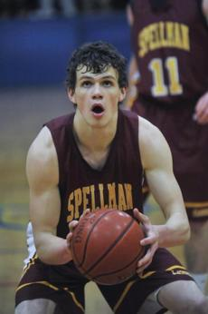 Rory Donovan takes a foul shot. Cardinal Spellman boys' basketball v. Arlington Catholic.