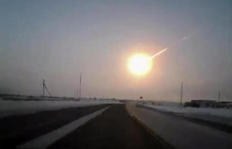 A suspected meteor over the highway that travels from Kostanai, Kazakhstan, to the Chelyabinsk region of Russia.