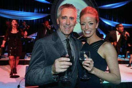 2-15-2013 Boston, Mass. Over 1500 guests attended 5th Annual NECN's TV Diner Platinum Plate Gala , the event was held at theSeaport World Trade Center. L. to R. are Hosts Billy Costa and Jenny Johnson. Globe photo by Bill Brett