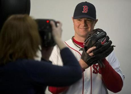 Jon Lester posed during photo media day.