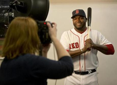 David Ortiz posed for a photographer.