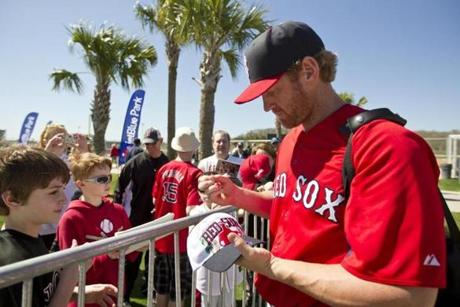 Lyle Overbay signed autographs for fans.