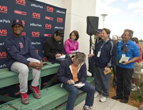 Former Red Sox pitcher Pedro Martinez, now special assistant to the general manager, during a press conference.