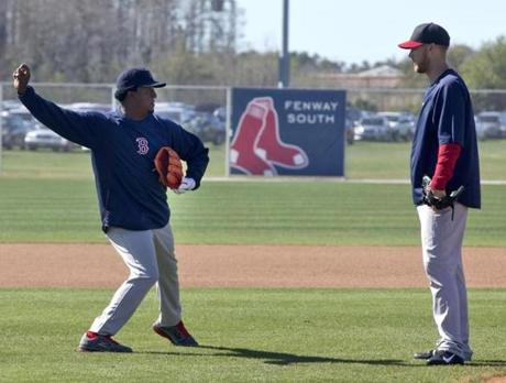 Pedro Martinez worked with pitcher Daniel Bard.