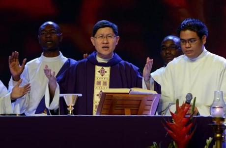 Archbishop of Manila Cardinal Luis Antonio Tagle. Filipinos are hoping that 55-year-old Tagle, who was only made a cardinal in November of last year, could become the next pope.