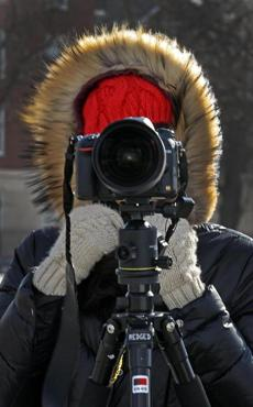 Elizabeth Lee braved the cold to shoot photos on the Charles River banks for her animation class at Harvard Grad School of Design.
