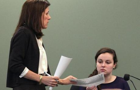 Prosecutor Lisa McGovern (left) questioned witness Anna Sharry during the trial on Wednesday.