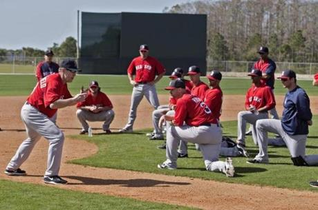 Red Sox third base coach Brian Butterfield worked with positional players on baserunning drills.