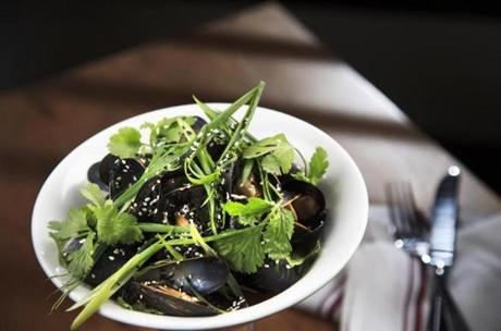 2/20/2013 - Cambridge, MA - The Sinclair restaurant - These are the steamed mussels at The Sinclair restaurant - $13. Story by James Reed/Globe Staff. Photo by Dina Rudick/Globe Staff.