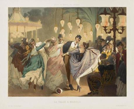 "Gustave Barry and Philippe Jacques Linder's circa 1860-70 color lithograph ""Waltz at Mabille."""
