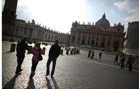 The square was clear of most people later Sunday. The pope will hold his last audience Wednesday.