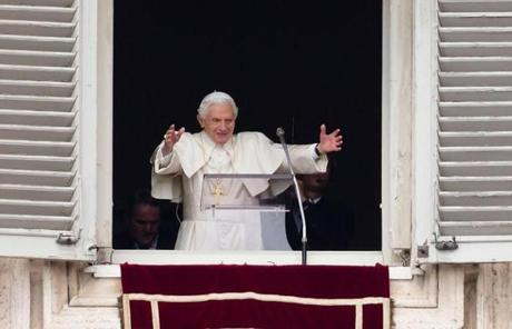 The pope spoke from the window of his studio overlooking the square.