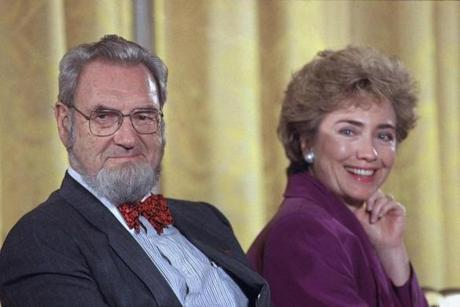 Dr. C. Everett Koop and then-first lady Hillary Rodham Clinton during a meeting with more than 100 prominent doctors in 1993.
