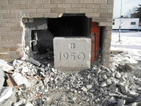 The time capsule is revealed for the first time since 1950 during demolition.