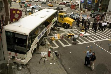 A Fung Wah bus crashed into a bank on June 23, 2008, in New York's Chinatown, after being hit by a dump truck, killing one person and injuring six.