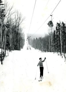 March 16, 1961 / Wildcat Mountain, Pinkham Notch, New Hampshire was the scene of the National Alpine Ski championships in 1961. Susan McLane of Concord, N.H.took a solitary run before the events started.