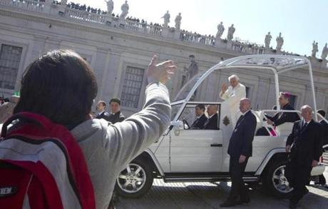 Benedict left St. Peter's Square after the general audience.