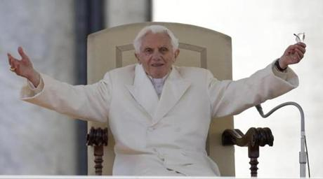 Pope Benedict XVI opened his arms during his final general audience.