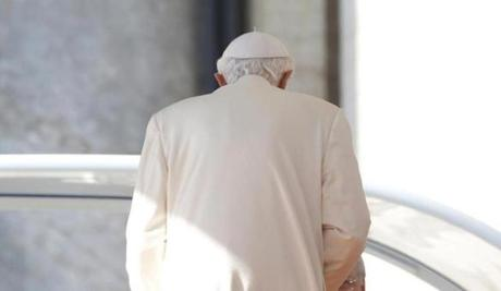Pope Benedict XVI left after his last general audience in St Peter's Square.